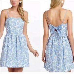 Lilly Pulitzer blue linen floral eyelet dress 4